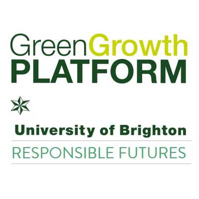 University of Brighton's Green Growth Platform and Responsible Futures logo